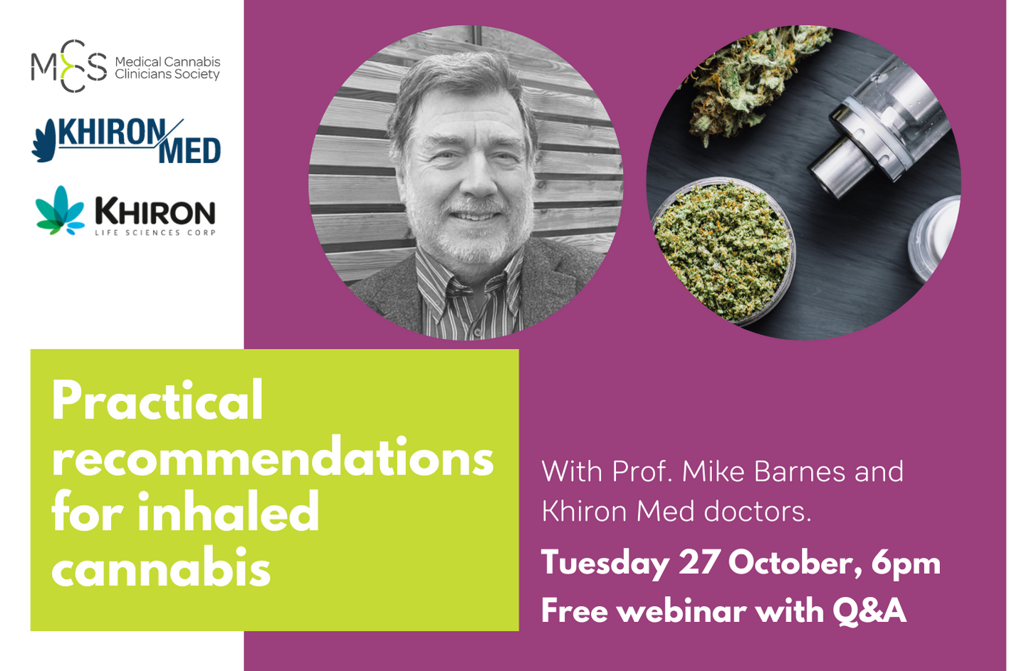 Webinar: Practical recommendations for inhaled cannabis – Q&A for doctors with Khiron