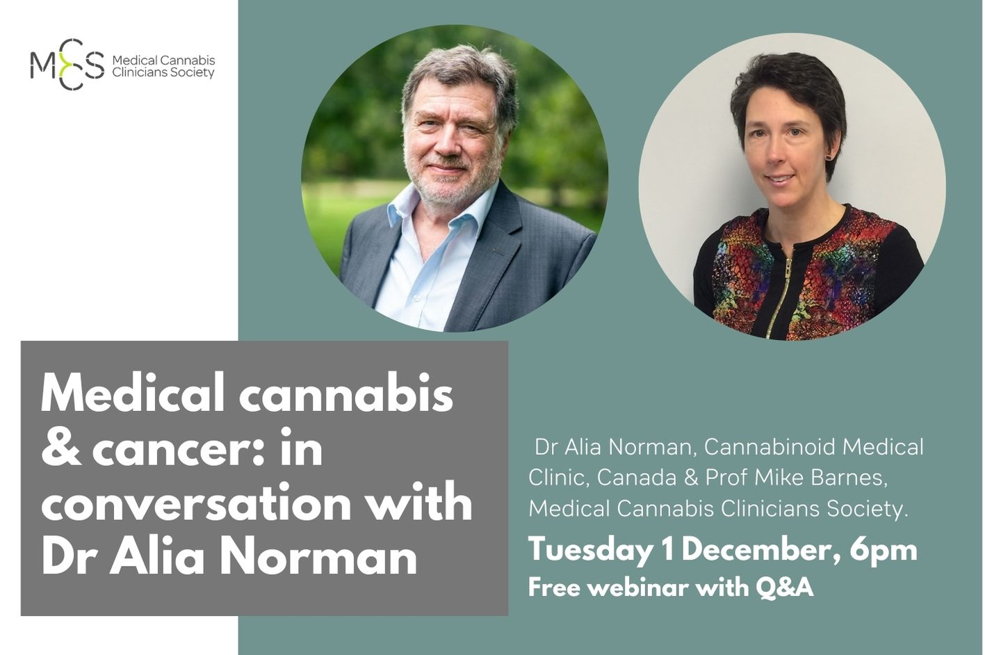 Webinar: Medical Cannabis & Cancer: in conversation with Dr Alia Norman