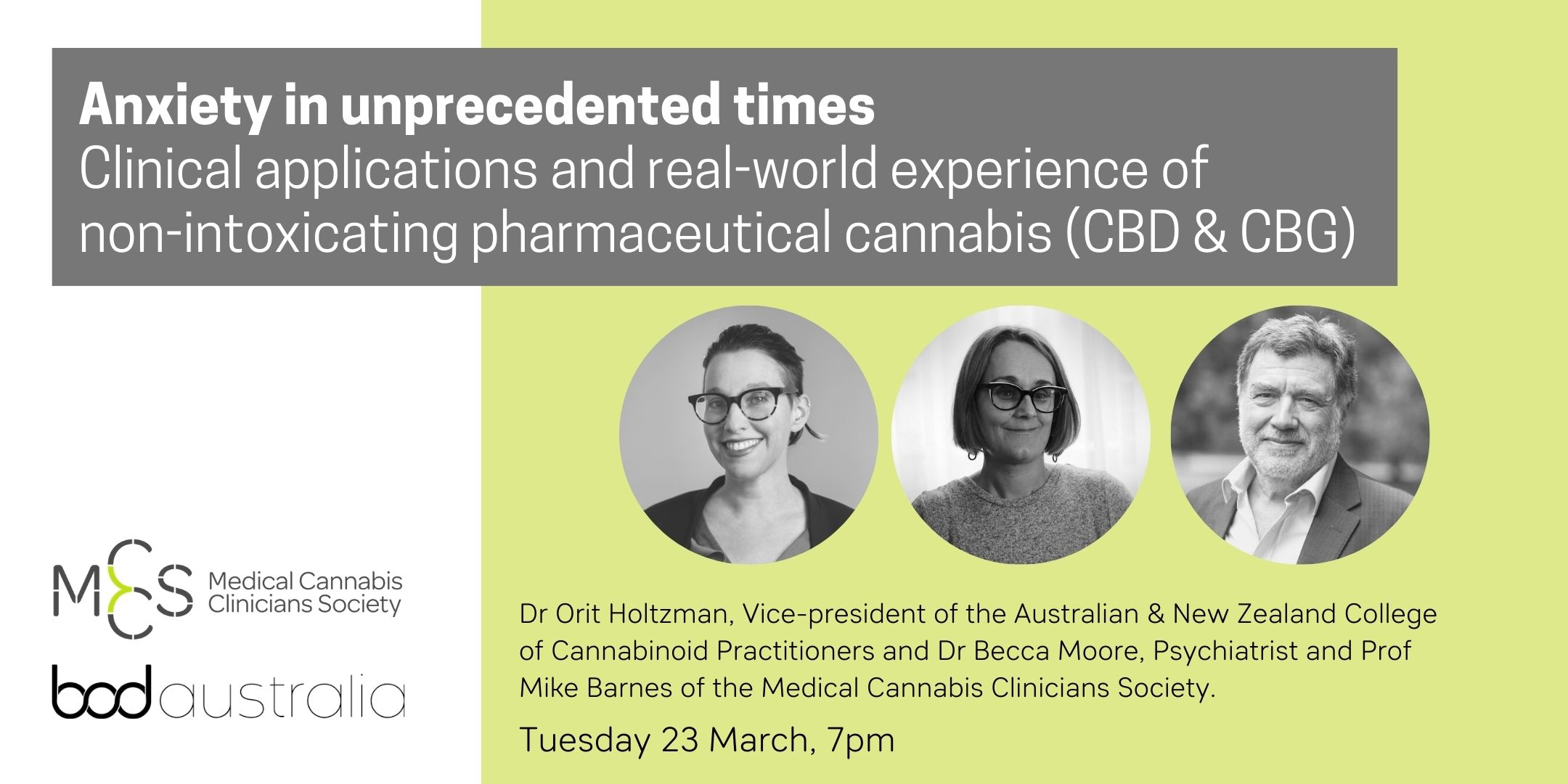 Webinar: Anxiety in unprecedented times – Clinical applications and real-world experience of non-intoxicating pharmaceutical cannabis (CBD & CBG)